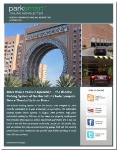 ParkSmart – Robotic Parking Systems' October 2011 Newsletter