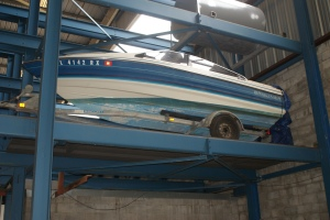 Boat Stored in a Robotic Parking System
