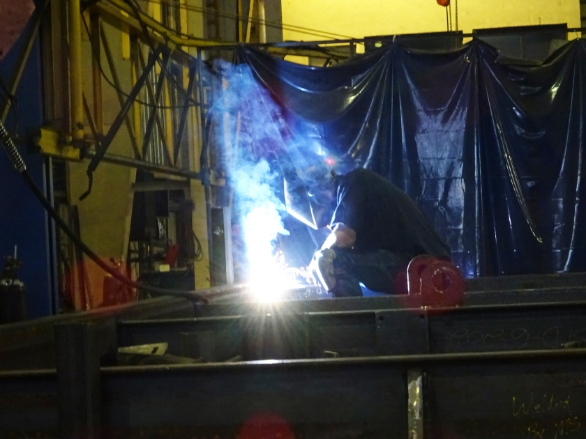 Welding on a Robotic Parking System Machine