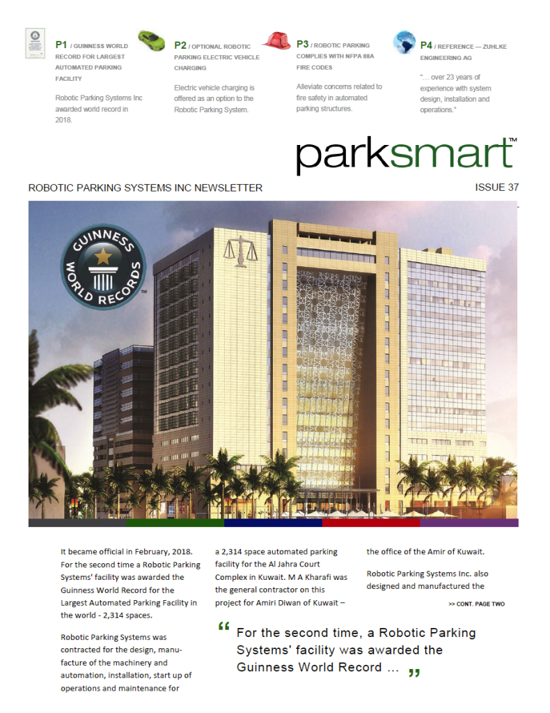 Robotic Parking Systems Newsletter - ParkSmart Issue 37